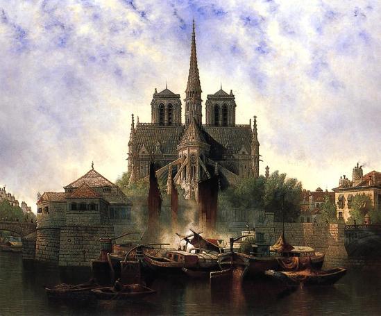 Notre-Dame-Paris-Edwin-Deakin-oil-painting-1